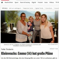 Bericht der Kronenzeitung: Emma hat große Pläne (vom 30.09.2017)
