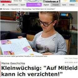 Kronen Zeitung berichtet: Auf Mitleid kann ich verzichten! - Interview mit einer kleinwüchsigen Jugendlichen